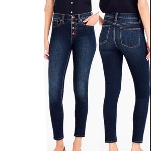 J. Crew high rise skinny exposed button fly jeans